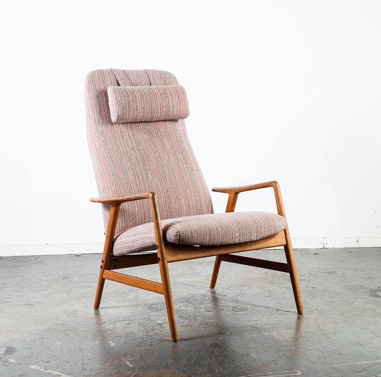 . Mid Century Danish Modern Lounge Chair Recliner Fohlke Ohlsson Dux Artifort  Arm Pastel Tweed Scandinavian Denmark Sweden Finn Juhl Wegner