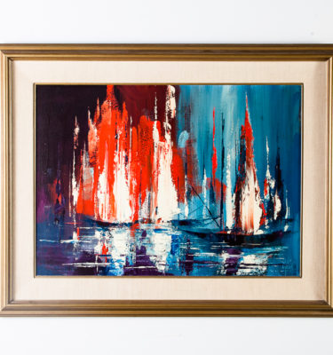 Mid century modern Art Oil Board Original Abstract Expressionism Jack Laycox Mcm Vintage Large Blue Black Red