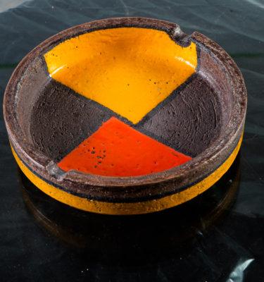 Mid Century Modern Ceramic Ashtray Catch all Aldo Londi Bitossi Raymor Mondrian