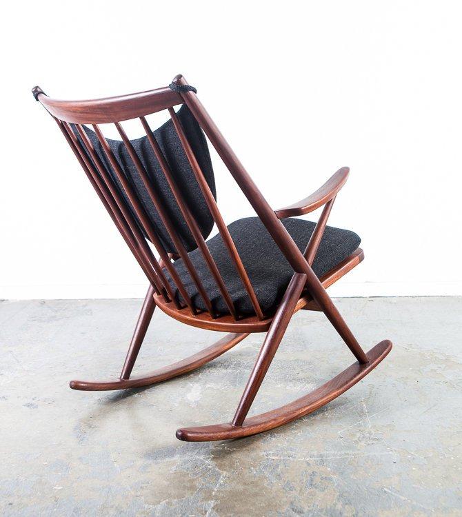 Mid Century Danish Modern Rocking Chair Frank Reenskaug Bramin Solid Teak Wood Rocker Black Tweed Red