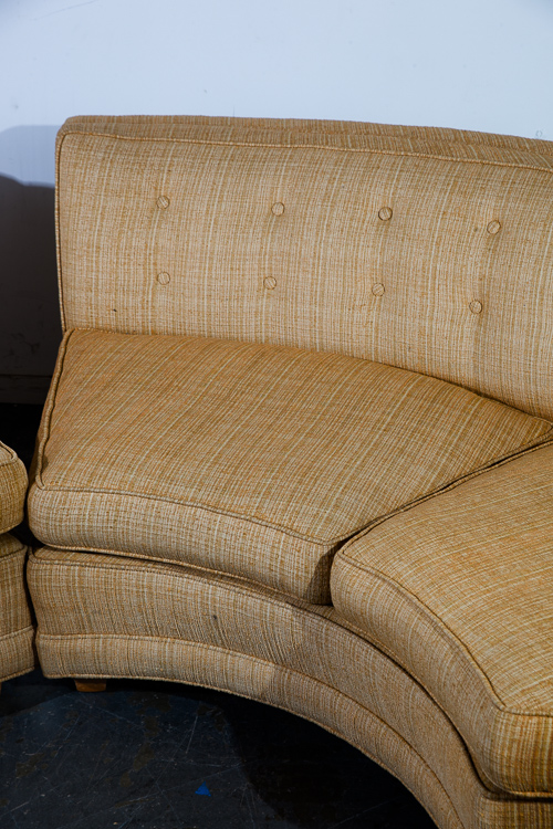 Mid Century Modern Sectional Sofa Couch Gold Rounded Mid