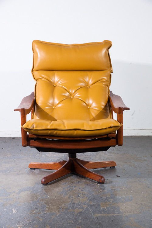 Mid century danish modern lounge chair recliner solid teak lied mobler ottoman mustard yellow leather swivel base time capsule condition