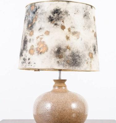 Mid Century Modern Lamp Table Light Ceramic Drip Glaze Round Lighting Gray Black Gold Large 70s Handmade Hand painted Shade
