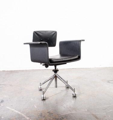 Mid Century Danish Modern Office Chair Kevi Armchair Leather Jørgen Rasmussen