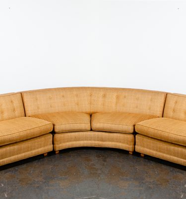 Mid Century Modern Sectional Sofa Couch Gold Rounded Large Vintage Custom Mcm Danish Curved Orange 1960s Scofields