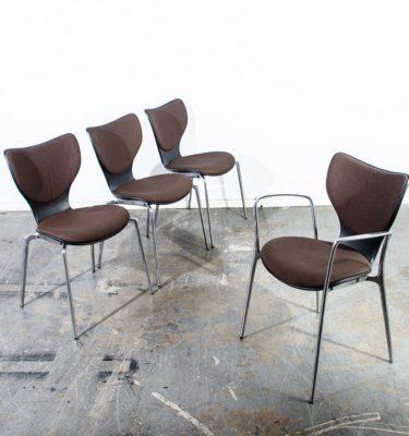 Mid Century Modern Contemporary Chair Set 4 Jorge Pensi Gorka Polyamide Chrome Aluminum Metal Upholstered Knoll Akaba Office Armchair Mcm