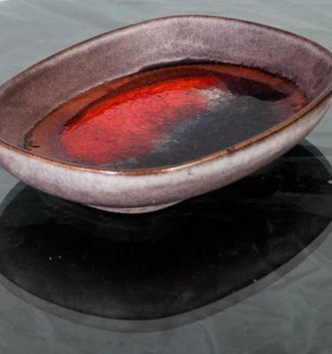 Mid Century Modern Ceramic Karlsruhe Majolika Bowl German Red Grey Studio Vintage Shallow Watercolor Signed Danish Scandinavian European