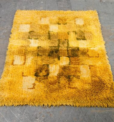Mid Century Danish Modern Shag Rug Carpet Rya Ege Yellow Green Wool Hand Knotted Abstract 3x5' Runner Denmark Vintage Bright Tapestry