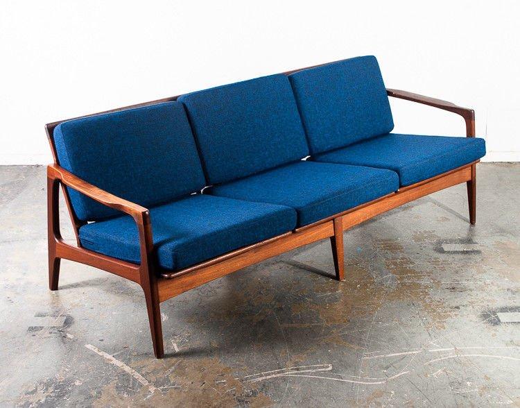 Mid century danish modern sofa couch solid teak japan | Mid Century ...
