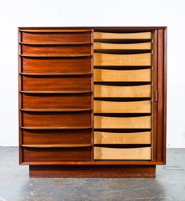 Mid century danish modern highboy dresser falster manufacturer tambour door solid teak large 17 drawer 9 hidden drawers functional design
