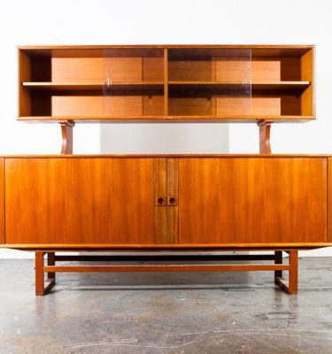 Mid century danish modern credenza sideboard teak axel christensen display hutch china cabinet aco mobler buffet modular stamped original