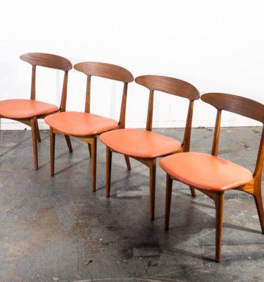 Mid century danish modern dining chairs set of 4 kurt ostervig denmark vintage coral vinyl solid oak contoured construction original