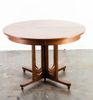 Mid Century Modern Dining Table Round United Furniture Circular Broyhill American Martinsville Extension Leaf Mcm Danish Denmark Vintage