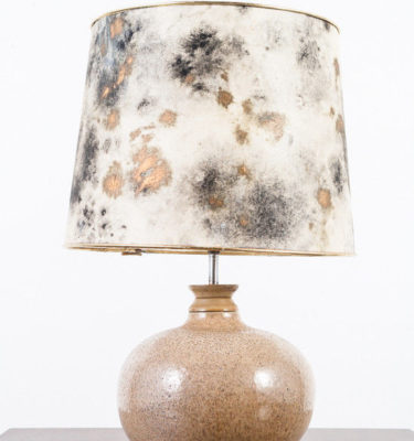 Mid Century Modern Ceramic Table Lamp Gray Glaze Handmade Pottery Light Vintage