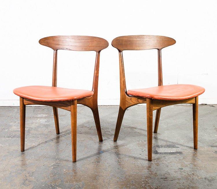 Mid Century Danish Modern Dining Chairs Set Of 4 Kurt Ostervig Denmark  Vintage Coral Vinyl Solid