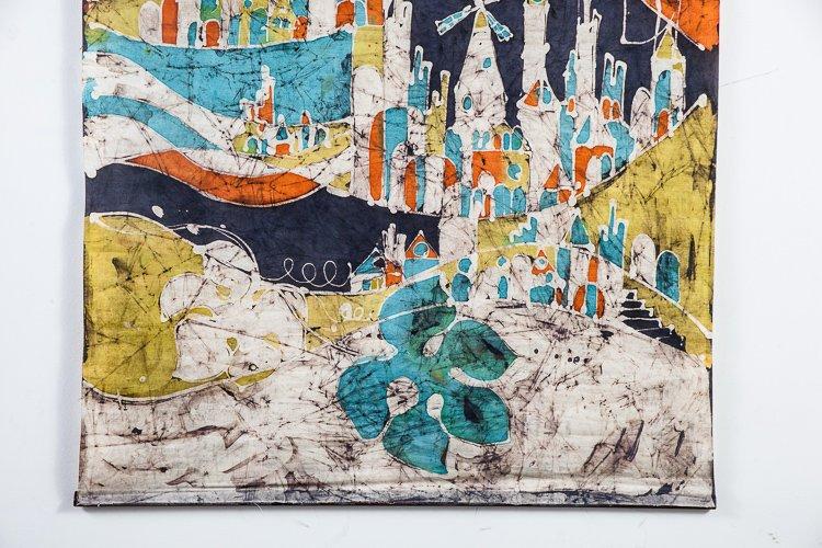 Mid Century Modern Tapestry Wall Hanging Tie Dye Batik Canvas Original Art Artwork Large 60