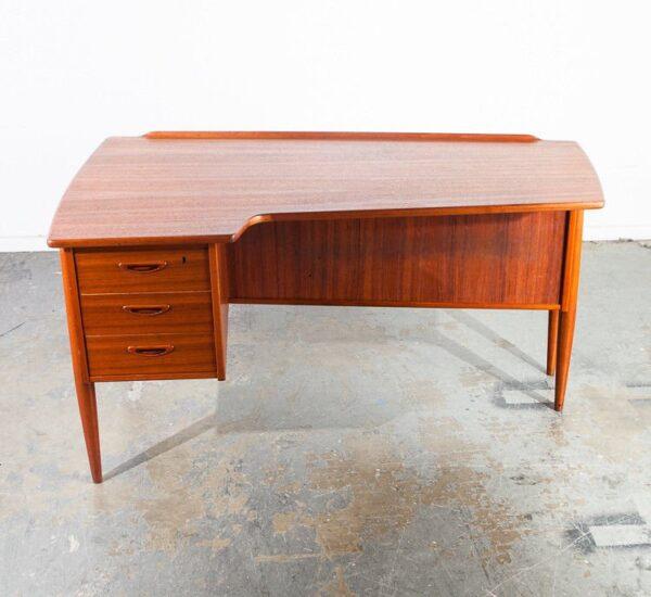 Mid century danish modern desk office executive teak boomerang goran strand for Lelangs Mobelfabrik with bookshelf bar & brass skeleton key