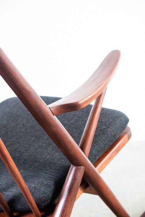 Mid Century Danish Modern Rocking Chair Frank Reenskaug Bramin Solid Teak Wood Rocker Black Tweed Restored Denmark Arm Lounge Easy Vintage