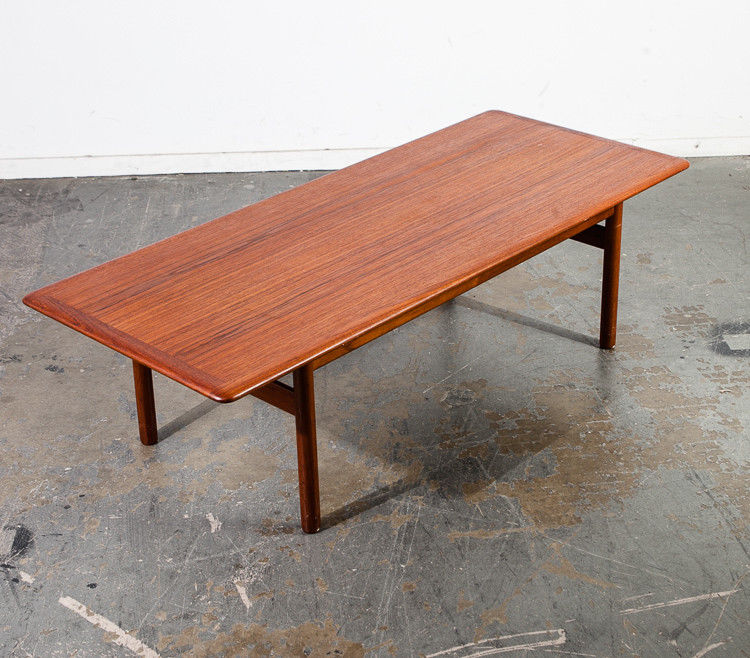 Mid Century Danish Modern Coffee Table Solid Teak Dux Surfboard Vintage  Sweden M
