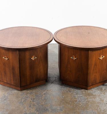 Mid century modern End tables Side Nightstands Round Drum Vintage Lane Drexel NM