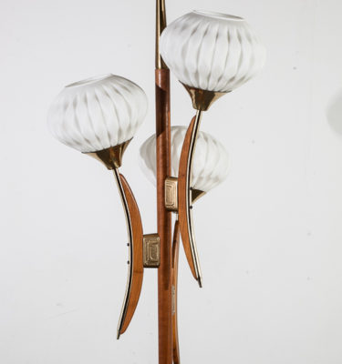 Mid Century Modern Floor Lamp 3 Light Teak Tulip Frosted Glass Vintage Brass M