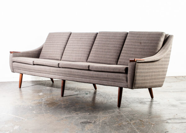 Mid Century Danish Modern Sofa Couch with Solid Teak Paws Arms Large 4 Seater