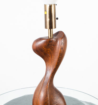 Mid Century Modern Table Lamp Sculptural Wood Heifetz Modeline Vintage Walnut