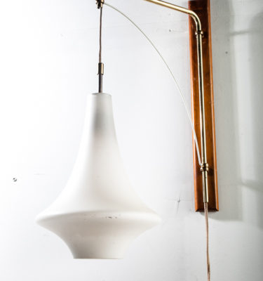 Mid Century Modern Lamp Wall Sconce Gerald Thurston Lightolier Brass Glass Wood