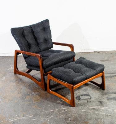 Mid Century Modern Lounge Chair Adrian Pearsall 2466C Ottoman Vintage Kagan Gray