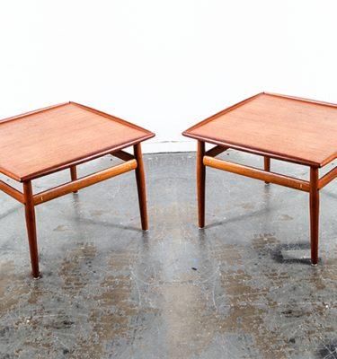 Mid Century Danish Modern Table End Side Set Solid Teak Denmark Grete Jalk Two