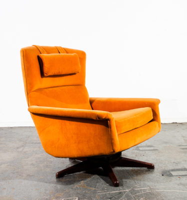 Mid Century Danish Modern Lounge Chair Dux Fohlke Ohlsson Recliner Orange Swivel