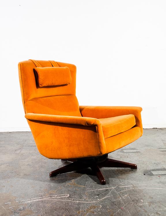 Mid Century Danish Modern Lounge Chair Dux Fohlke Ohlsson Recliner Orange  Swivel