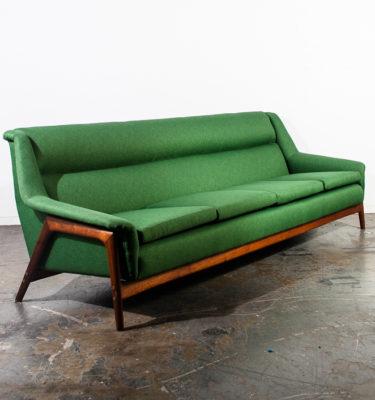Mid Century Danish Modern Sofa Couch Dux Folke Ohlsson Green Swedish Vintage XL