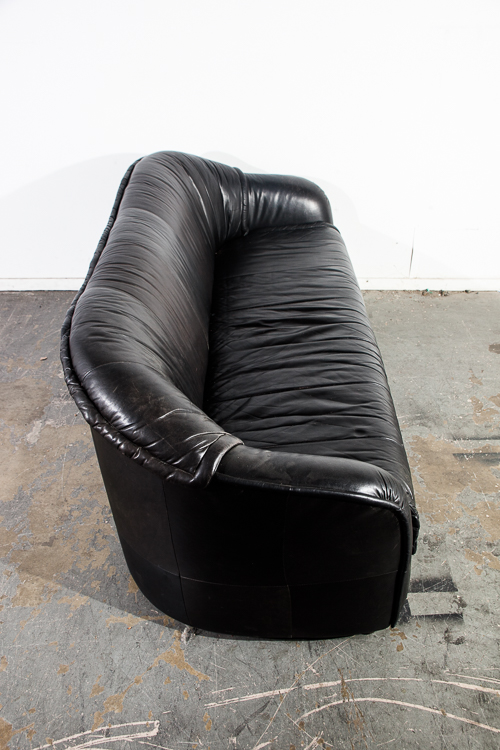 Mid Century Danish Modern Sofa Couch Black Leather Compact
