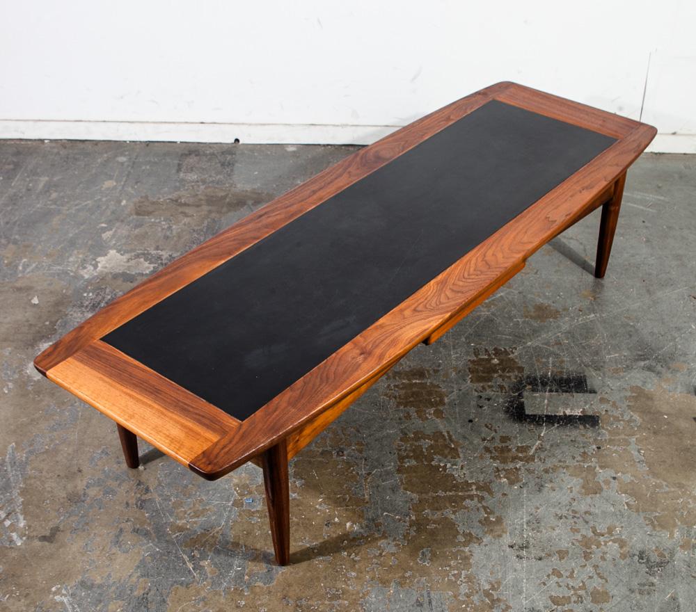 Vintage Mid Century Danish Modern Walnut Surfboard Coffee: Mid Century Modern Coffee Table American Martinsville