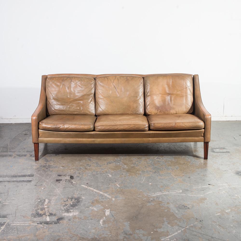 Mid Century Danish Modern Sofa Couch Leather Borge