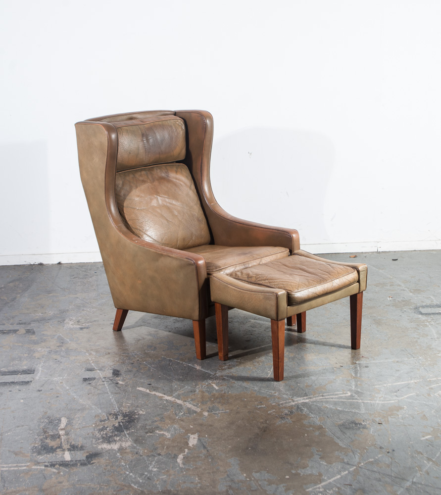 Mid Century Danish Modern Lounge Chair Leather Ottoman ...