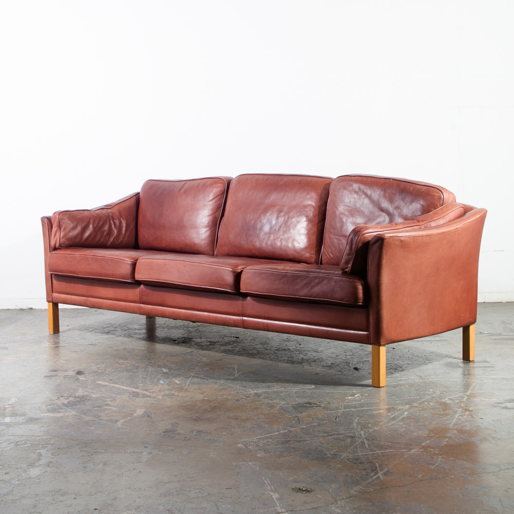 Mid Century Danish Modern Sofa Couch Leather Ox Blood Red Mogens Hansen 3  seater Mcm Borge Mogensen Large