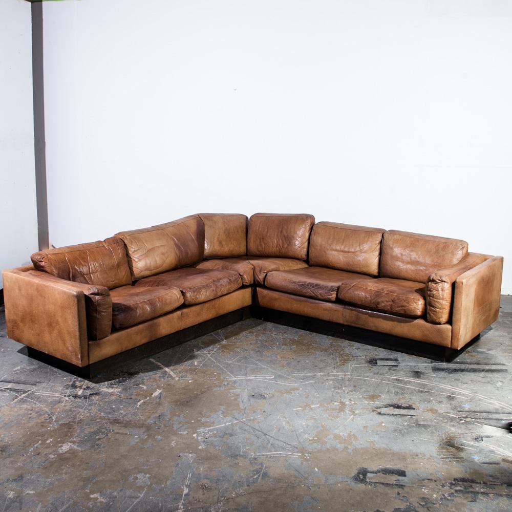 Mid Century Danish Modern Sofa Sectional in Cognac Buffalo Leather Couch De  Sede Tan