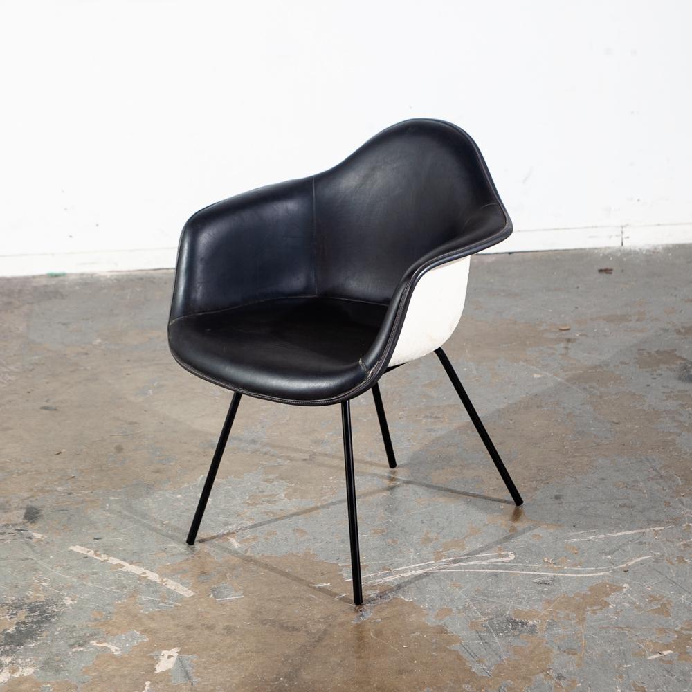 Mid Century Modern Chair Herman Miller Charles Eames Fiberglass Arm Shell  Black White H Base Armchair